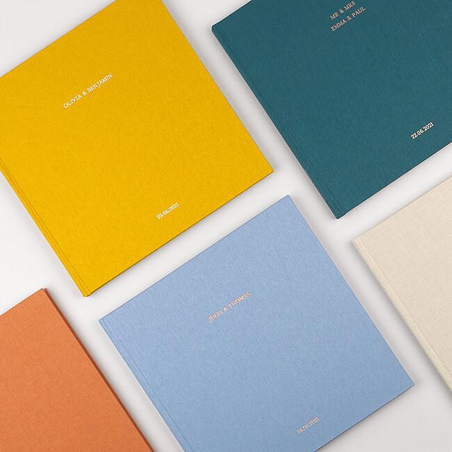 Hardcover Fotobuch mit Stoffen in schönen Farben