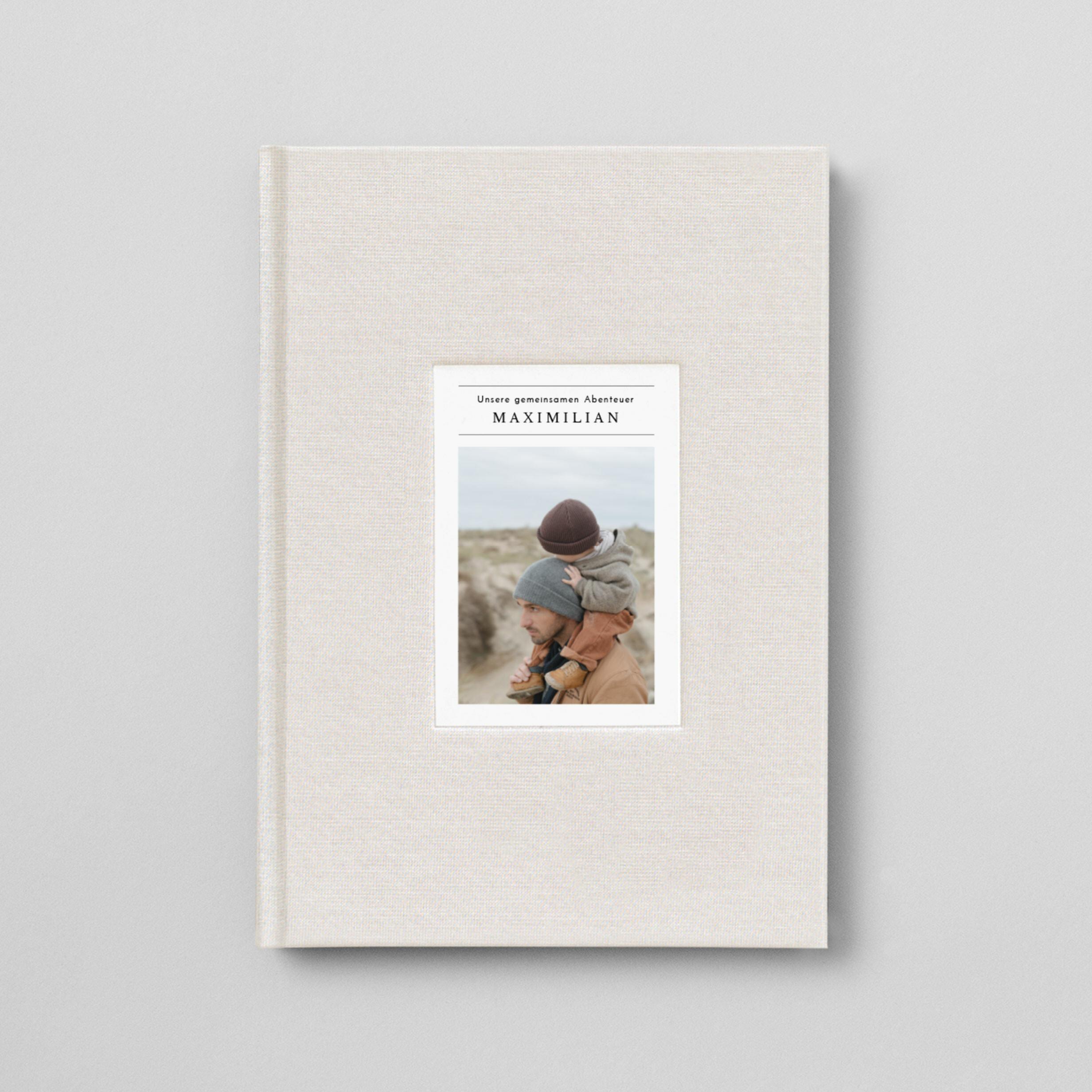 Notizbuch mit Stoffeinband und Foto