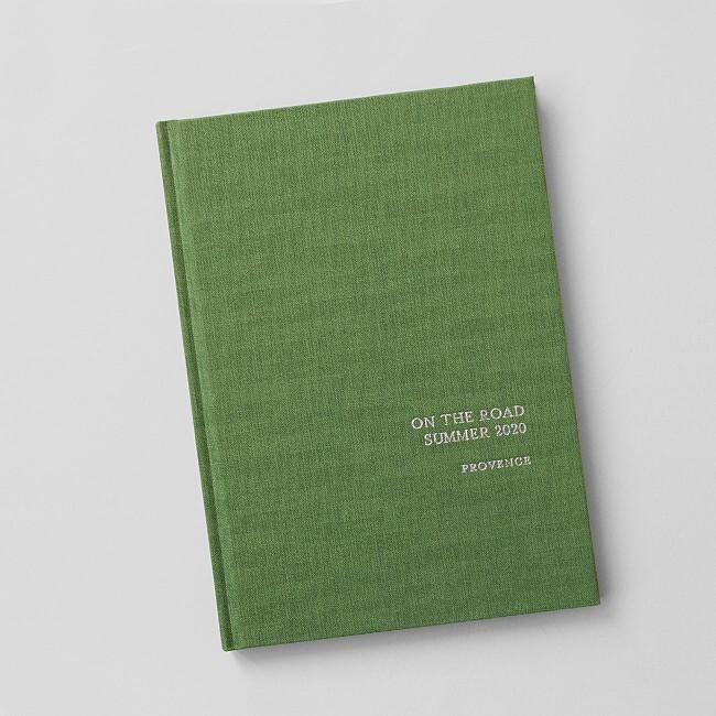 Notizbuch Stoffeinband veredelt