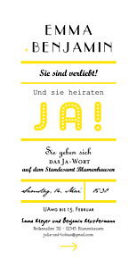 Hochzeitseinladungen ja-wort gelb