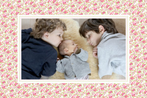 Geburtskarte Lange blumensinfonie rosa
