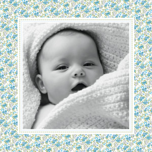 Geburtskarte Einfache blumensinfonie blau