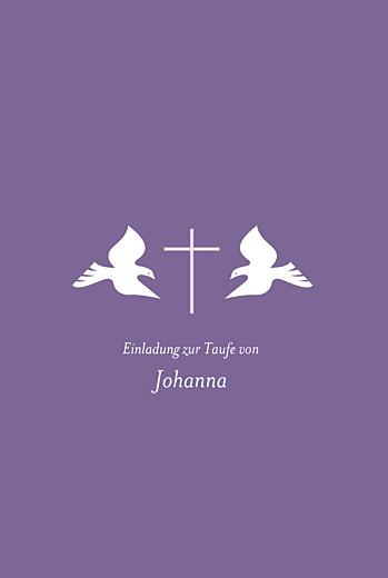 Taufeinladungen Tauben foto violett