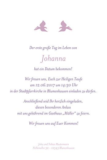 Taufeinladungen Tauben foto violett - Seite 3