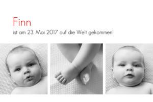 Geburtskarte Zeitgeist 3 fotos weiss