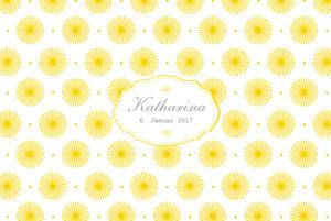 Geburtskarte Blumenkreisel foto gelb