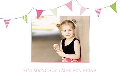 Taufeinladung Girlande foto rosa & gruen finition