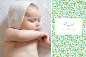 Geburtskarte Blumensinfonie portrait gelb & gruen