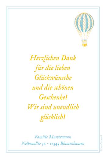 Dankeskarten Ballonfahrt blau gelb - Seite 2