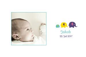 Geburtskarte 3 elefanten 2 fotos tuerkis
