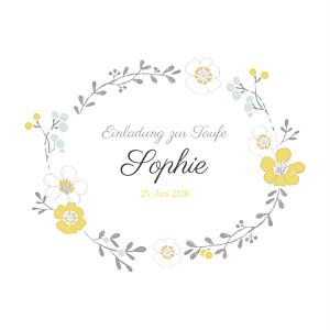 Taufeinladung Blumenkrone Gelb
