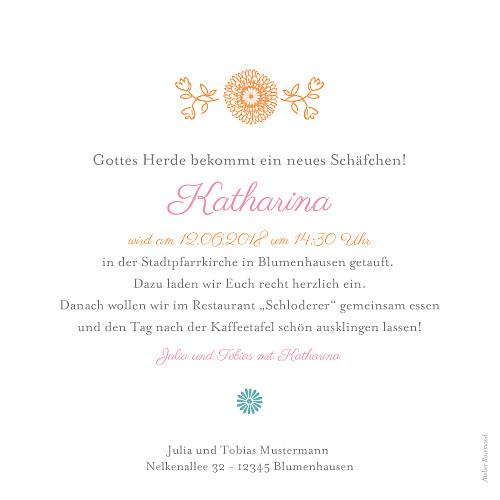 Taufeinladungen Blumentanz rosa - Seite 2