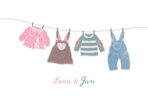 Geburtskarte Wäscheleine zwillinge rosa gruen
