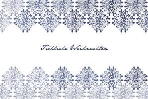 Weihnachtskarten klassisch grazie blau & weiss