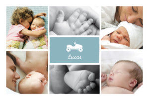 Geburtskarte Autospaß 7 fotos blau