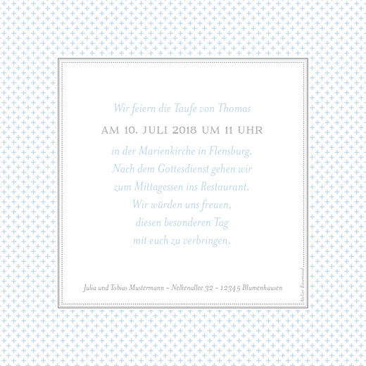 Taufeinladungen Chic zartblau - Seite 2