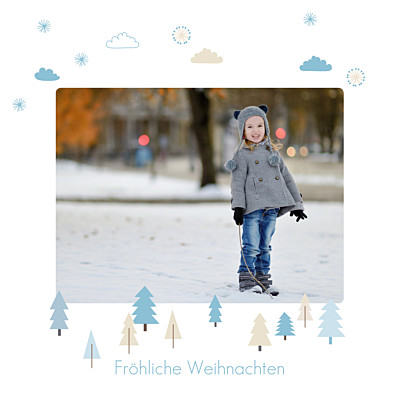 Weihnachtskarten Winter forest bleu finition