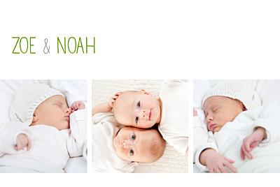 Geburtskarten Zwillinge 3 fotos weiss finition