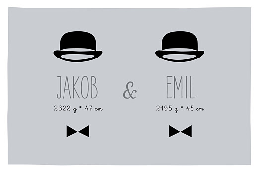 Geburtskarte Gentlemen zwillinge grau