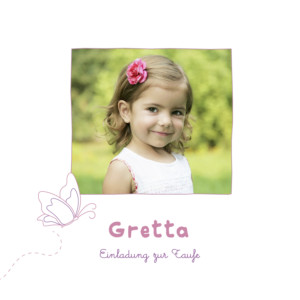 Taufeinladung Schmetterling foto rosa