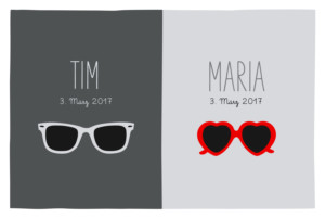 Geburtskarte Brillen zwillinge grau