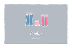 Geburtskarten grau stiefel 1 kind grau rosa