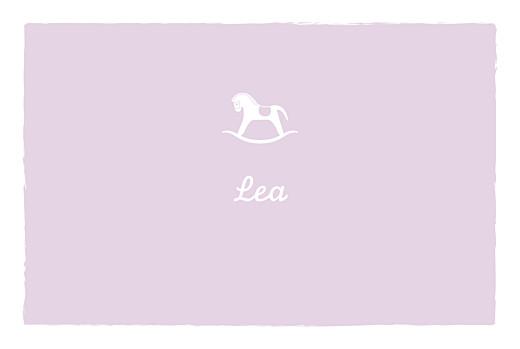 Geburtskarten Pferd zweisprachig lavandel