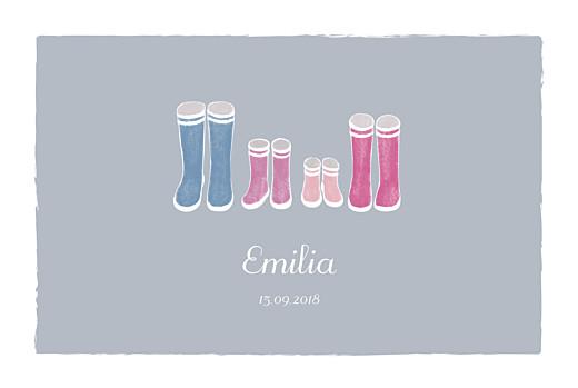 Geburtskarten Stiefel 2 kinder grau & rosa