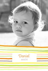 Geburtstagskarten Kinder Kunterbunt orange