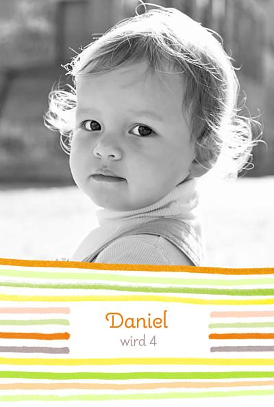 Geburtstagskarten Kinder Kunterbunt orange finition