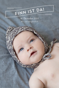 Geburtskarte Schlagzeile 5 fotos weiss