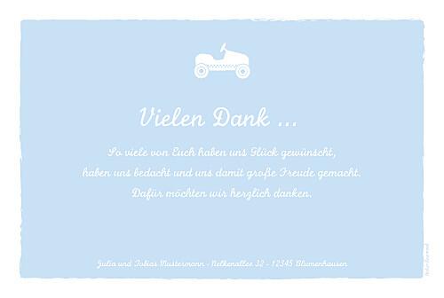 Dankeskarten Autospaß foto zartblau