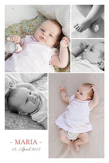 Geburtskarten 5 fotos weiss