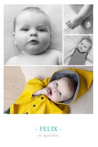 Geburtskarte 4 fotos weiss