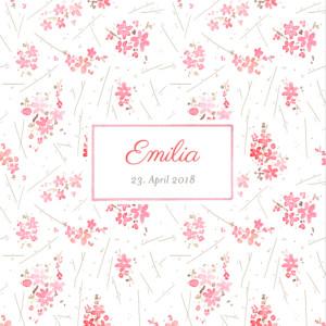 Geburtskarte Wildblume rosa