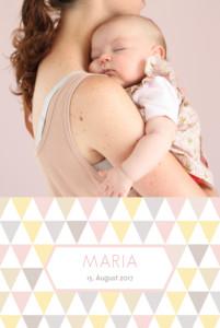 Geburtskarte Harlequin rosa