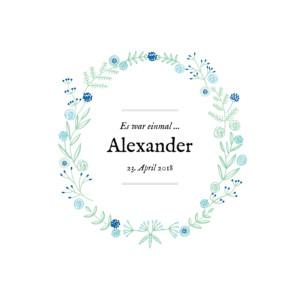 Geburtskarte Leporello blütenzauber blau