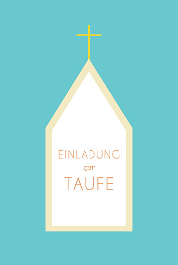 Taufeinladung Kirche gelb & tuerkis