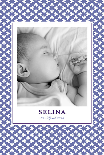 Geburtskarte Lissabon hoch violett