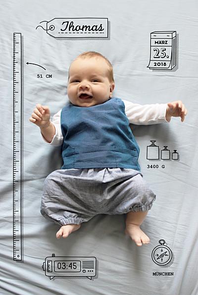 Geburtskarte Kleinkram weiss finition