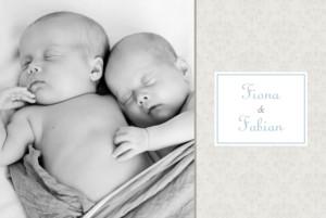 Geburtskarte Arabesk zwillinge blau