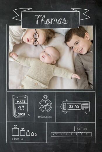 Geburtskarte Kleinkram tafel schwarz