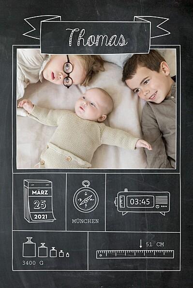 Geburtskarte Kleinkram tafel schwarz finition