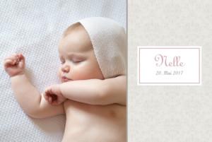 Geburtskarte Arabesk 2 fotos rosa