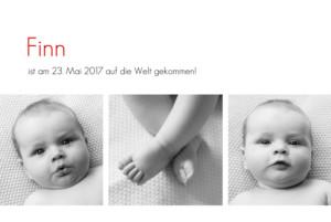 Geburtskarte Zeitgeist 4 fotos weiß