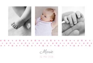 Geburtskarte Sterneband 3 fotos rosa