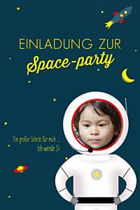 Geburtstagseinladung Raumfahrt gelb