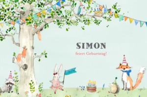 Geburtstagskarten Kinder Frühlingserwachen zartblau