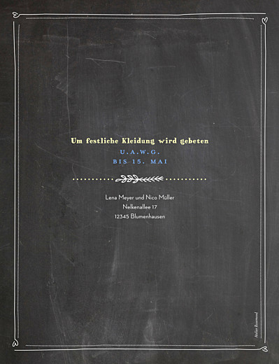 Hochzeitseinladungen Kreidetafel blumen schwarz - Seite 2