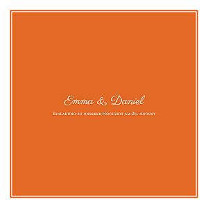 Hochzeitseinladungen carré chic orange